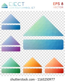 Eject geometric polygonal icons. Appealing mosaic style symbol collection. Powerful low poly style. Modern design. Eject icons set for infographics or presentation.