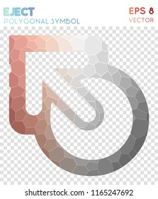 Eject outline polygonal symbol, alluring mosaic style symbol. Uncommon low poly style, modern design.
