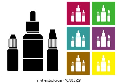 E-juice. Fluid for electronic cigarettes vector icon or color cards with bottles of liquid of electronic cigarettes. Vector Image.