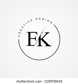 EK E K Initial Logo. Cutting and linked letter logo icon with paper cut in the middle. Creative monogram logo design. Fashion icon design template.
