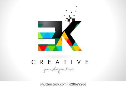 EK E K Letter Logo with Colorful Vivid Triangles Texture Design Vector Illustration.