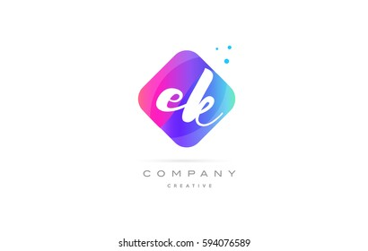 ek e k  pink blue rhombus abstract 3d alphabet company letter text logo hand writting written design vector icon template