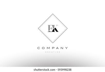 ek e k  retro vintage black white alphabet company letter logo line design vector icon template