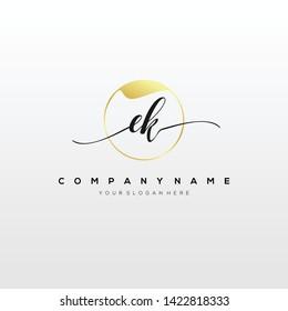 EK handwriting initial logo template vector.