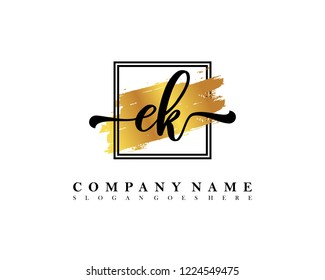 EK Initial handwriting logo concept