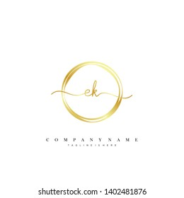 EK initial handwriting logo template vector