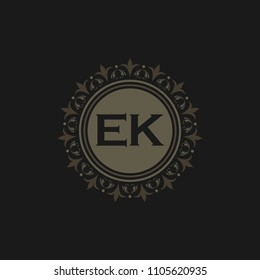 EK initial logo. Luxury ornament crown logo.