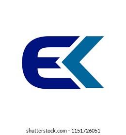 EK Initials Techno Style Lettermark Symbol Logo Design