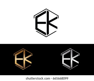 EK letters linked with hexagon shape logo