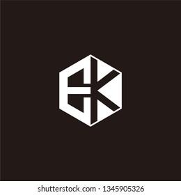 EK Logo Initial Monogram Negative Space Designs Templete