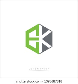 EK Logo Initial Monogram Negative Space Design Template With Green and Grey Color - Vector EPS 10