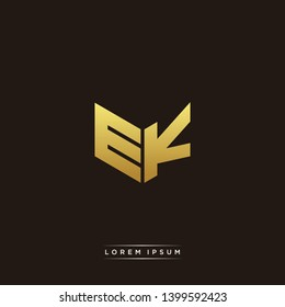 EK Logo Letter Initial Logo Designs Templete with Gold and Black Background