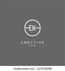 ek logo letter isolated with geometric circle shape creative design concept