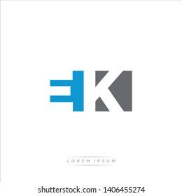 EK Logo Letter with Modern Negative space - Blue and Grey Color EPS 10