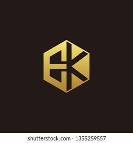 EK Logo Monogram with Negative space gold colors