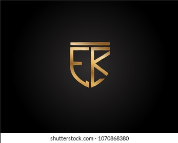 EK shield shape Letter Design in gold color