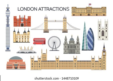 "Ekaterinburg, Russia - 07 12 2019: ""London architecture. Collection of London attractions. Vector set of London city. Travel Untied Kingdom attractions. English architecture flat style illustration"""