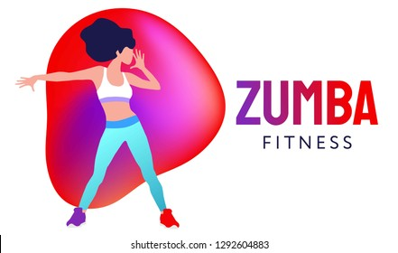 Ekaterinburg, Russia - January 23, 2019: woman dancing Zumba in fitness studio vector illustration.  Aerobic fitness.