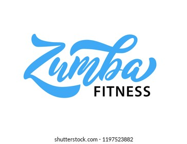 Ekaterinburg, Russia - October 2, 2018: Zumba dance studio text. Calligraphy word banner design. Aerobic fitness. Vector hand lettering Illustration on white background.