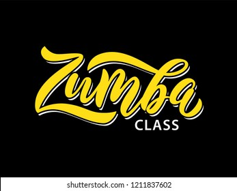 Ekaterinburg, Russia - October 2, 2018: Zumba class fitness text. Calligraphy word banner design. Aerobic fitness. Vector hand lettering zumba Illustration on black background.