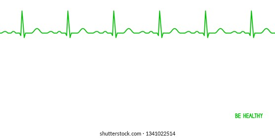 Ekg line. Heartbeat. Electrocardiography. Seamless line. Healthy heart. Medical design. Be healthy greeting card. Vector illustration.