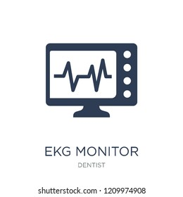 Ekg monitor icon. Trendy flat vector Ekg monitor icon on white background from Dentist collection, vector illustration can be use for web and mobile, eps10