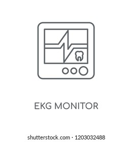 Ekg monitor linear icon. Ekg monitor concept stroke symbol design. Thin graphic elements vector illustration, outline pattern on a white background, eps 10.