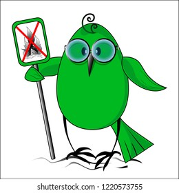 Eko a birdie against the fires. Vector illustration.