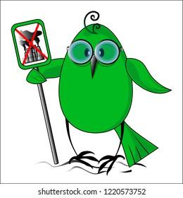 Eko birdie fight for clean air. Vector illustration.