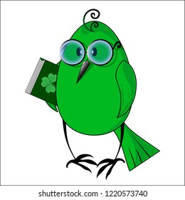 Eko a birdie with the green book. Vector illustration.