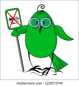 Eko a birdie the sign against garbage. Vector illustration.