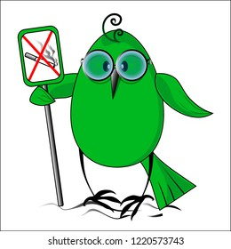 Eko a birdie the sign against smoking. Vector illustration.