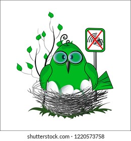 Eko birdie sign of fight for silence. Vector illustration.