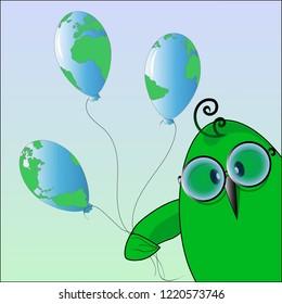 Eko birdie svozdushny spheres. Vector illustration.