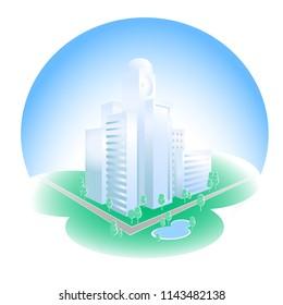 Eko city vector illustration. Urban landscape. Modern city