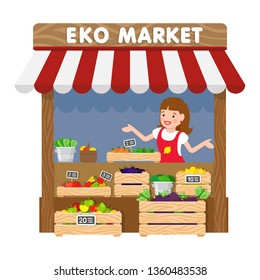 Eko Market, Grocery Kiosk Flat Vector Illustration. Saleswoman in Apron Cartoon Character. Female Seller behind Counter with Vegetables. Fresh Organic Product, Healthy Nutrition Food Sale