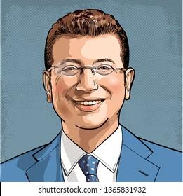 Ekrem Imamoglu portrait in line art illustration. He became Mayor of Istanbul Metropolitan Municipality, Turkey in 1st April 2019.