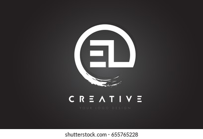 EL Circular Letter Logo with Circle Brush Design and Black Background.