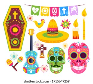 El dia de Muertos, Mexican Day of Dead vector illustrations. Cartoon traditional folk ornament art on dead skulls from Mexico, sombrero and guitar, skeleton masks for party icon set isolated on white