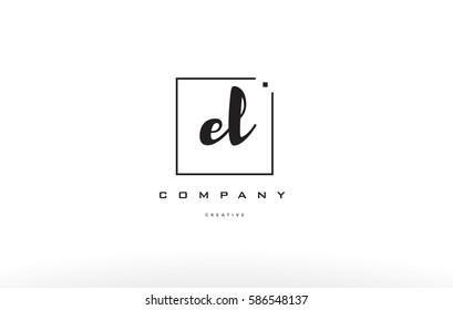 el e l hand writing written black white alphabet company letter logo square background small lowercase design creative vector icon template
