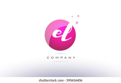 el e l  sphere pink 3d alphabet company letter combination logo hand writting written design vector icon template