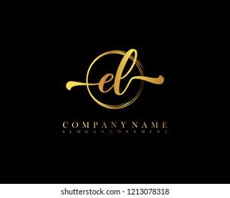 EL initial handwriting logo circle template vector