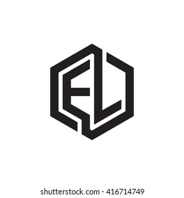 EL initial letters loop linked hexagon monogram logo