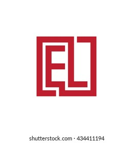 EL initial letters looping linked square logo red