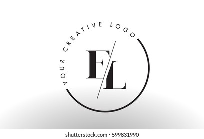 EL Letter Logo Design with Creative Intersected and Cutted Serif Font.