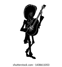 El mariachi skeleton musician. Dia de los muertos guitarist character. Black and white isolated silhouette with contour. Vector illustration for halloween.