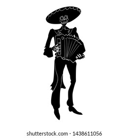 El mariachi skeleton musician. Dia de los muertos Сharacter with accordion. Black and white isolated silhouette with contour. Vector illustration for halloween.