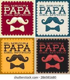 El mejor papa del mundo - World's best dad spanish text - moustache vector vintage card collection set