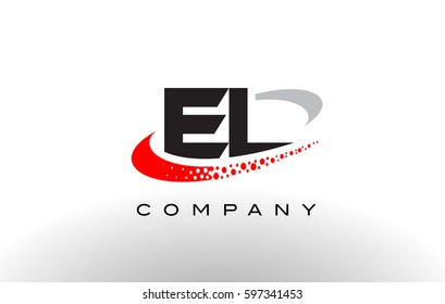 EL Modern Letter Logo Design with Creative Red Dotted Swoosh Vector