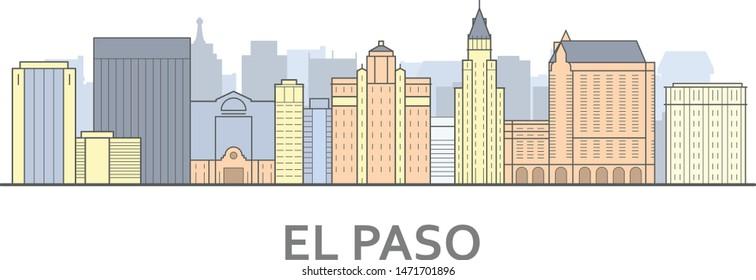 El paso cityscape, Texas - city panorama of El paso, skyline of downtown
